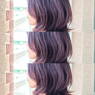 ガーリー ピンクアッシュ ピンク 透明感 ヘアスタイルや髪型の写真・画像