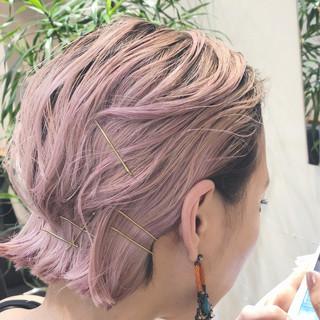 ハイライト ピンク グラデーションカラー バレイヤージュ ヘアスタイルや髪型の写真・画像