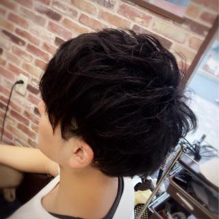 メンズ モード 暗髪 ショート ヘアスタイルや髪型の写真・画像