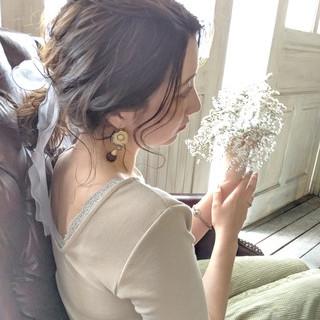 簡単ヘアアレンジ フェミニン ポニーテール ミディアム ヘアスタイルや髪型の写真・画像 ヘアスタイルや髪型の写真・画像
