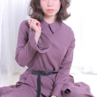 デート モテ髪 ナチュラル ミディアム ヘアスタイルや髪型の写真・画像