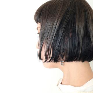 モード ショートボブ ボブ インナーカラー ヘアスタイルや髪型の写真・画像