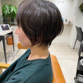 ショートボブ 小顔ショート ナチュラル くびれボブ ヘアスタイルや髪型の写真・画像