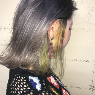 ボブ ハイライト ハイトーン 透明感 ヘアスタイルや髪型の写真・画像