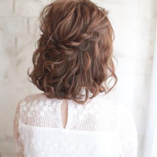 ボブ ハイライト 夏 ハーフアップ ヘアスタイルや髪型の写真・画像