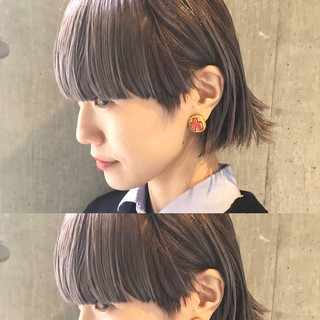 色気 アッシュ 小顔 ハイライト ヘアスタイルや髪型の写真・画像