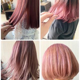 ピンクパープル ヘアアレンジ ピンクベージュ 簡単ヘアアレンジ ヘアスタイルや髪型の写真・画像