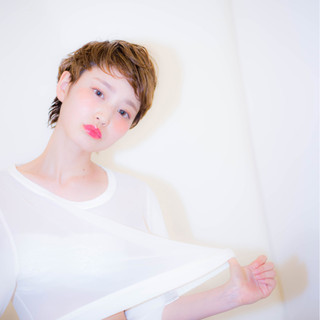 パーマ アッシュ 外国人風 ショート ヘアスタイルや髪型の写真・画像