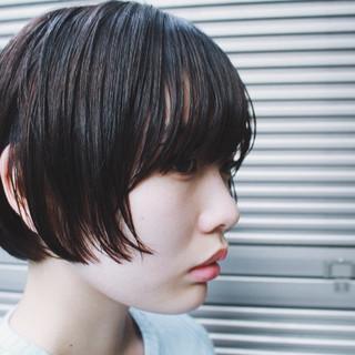 ショートボブ ナチュラル うざバング ショートヘア ヘアスタイルや髪型の写真・画像