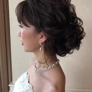 結婚式ヘアアレンジ ヘアアレンジ 結婚式髪型 セミロング ヘアスタイルや髪型の写真・画像