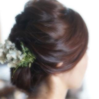 花嫁 花 ロング 編み込み ヘアスタイルや髪型の写真・画像
