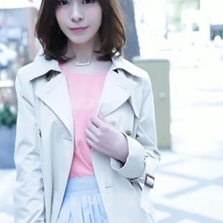 小顔 ミディアム 大人女子 かわいい ヘアスタイルや髪型の写真・画像