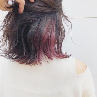 ミディアム ダブルカラー デート ナチュラル ヘアスタイルや髪型の写真・画像