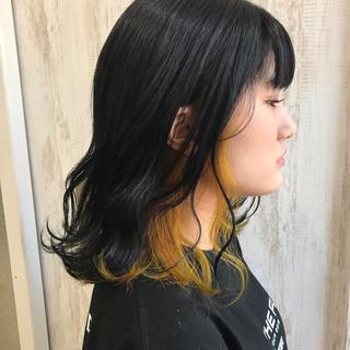 インナーカラー インナーカラーオレンジ #インナーカラー フェミニン ヘアスタイルや髪型の写真・画像