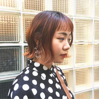 外ハネ オレンジ おかっぱ モード ヘアスタイルや髪型の写真・画像