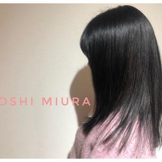 ナチュラル 暗髪女子 暗髪 ミディアム ヘアスタイルや髪型の写真・画像