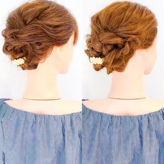簡単ヘアアレンジ オフィス 上品 ロング ヘアスタイルや髪型の写真・画像
