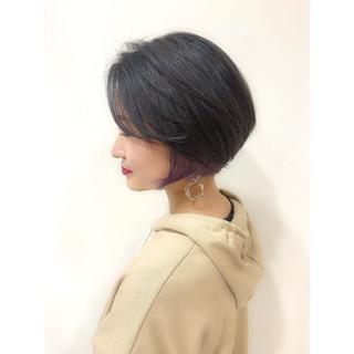 小顔ショート ハンサムショート モテボブ ショート ヘアスタイルや髪型の写真・画像