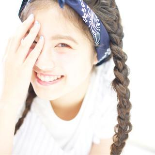 編み込み 簡単ヘアアレンジ 三つ編み ショート ヘアスタイルや髪型の写真・画像
