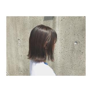 ボブ 切りっぱなし リラックス ワンレングス ヘアスタイルや髪型の写真・画像