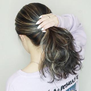 コントラストハイライト 3Dハイライト ナチュラル セミロング ヘアスタイルや髪型の写真・画像
