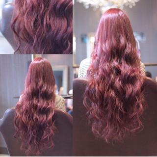 ロング ウェーブ ゆるふわ ピンク ヘアスタイルや髪型の写真・画像