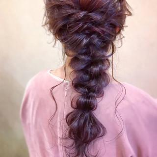 ロング 編みおろし エレガント 簡単ヘアアレンジ ヘアスタイルや髪型の写真・画像