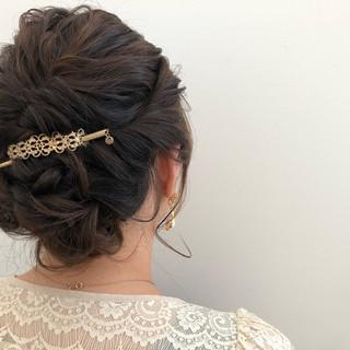 パーティ セミロング ヘアアレンジ 結婚式 ヘアスタイルや髪型の写真・画像
