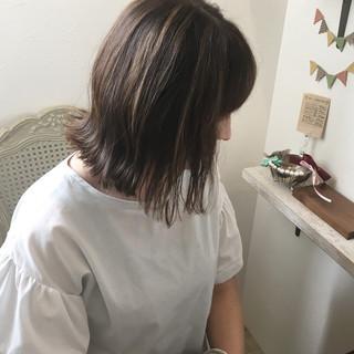外国人風カラー ボブ ロブ ハイライト ヘアスタイルや髪型の写真・画像