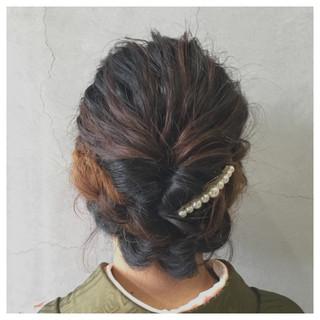 セミロング ゆるふわ 着物 ナチュラル ヘアスタイルや髪型の写真・画像