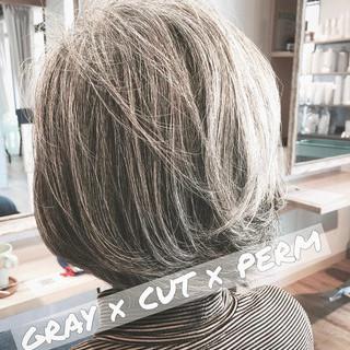 大人ショート エレガント 大人グラボブ ボブ ヘアスタイルや髪型の写真・画像