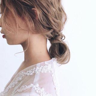 セミロング 結婚式 ゆるふわ ヘアアレンジ ヘアスタイルや髪型の写真・画像