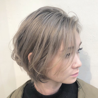 グラデーションカラー ハンサムショート インナーカラー ボブ ヘアスタイルや髪型の写真・画像