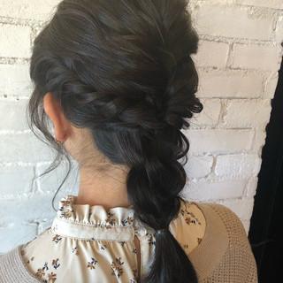 大人かわいい 結婚式 セミロング 簡単ヘアアレンジ ヘアスタイルや髪型の写真・画像