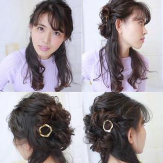大人かわいい ロング 黒髪 ハーフアップ ヘアスタイルや髪型の写真・画像