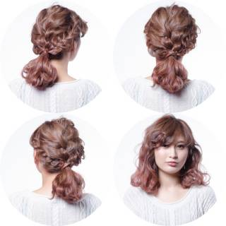 簡単ヘアアレンジ ウェーブ ショート 編み込み ヘアスタイルや髪型の写真・画像