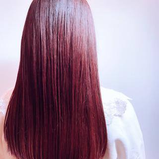ナチュラル 韓国ヘア ピンクバイオレット ロング ヘアスタイルや髪型の写真・画像