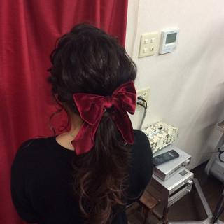 結婚式 ナチュラル ロング ヘアアレンジ ヘアスタイルや髪型の写真・画像