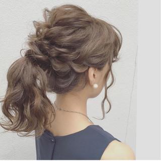 ナチュラル ガーリー 結婚式 セミロング ヘアスタイルや髪型の写真・画像