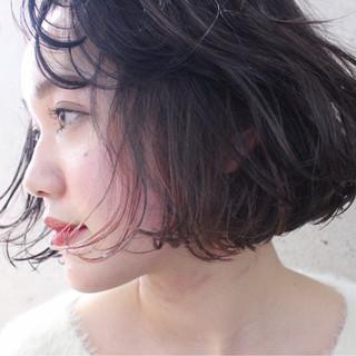 モテ髪 大人かわいい インナーカラー ボブ ヘアスタイルや髪型の写真・画像