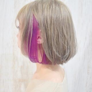フェミニン ショートボブ ボブ インナーカラー ヘアスタイルや髪型の写真・画像 | ひまらやさん / white.梅田
