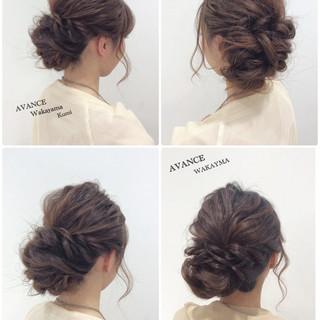 結婚式 くるりんぱ ヘアアレンジ ショート ヘアスタイルや髪型の写真・画像
