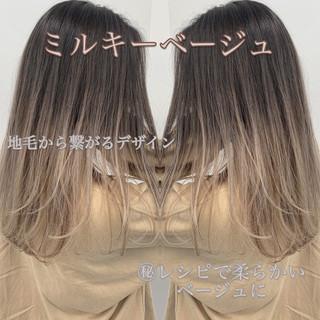 簡単スタイリング ロング 外国人風 ハイライト ヘアスタイルや髪型の写真・画像