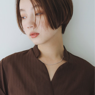 デート ショート ナチュラル うざバング ヘアスタイルや髪型の写真・画像