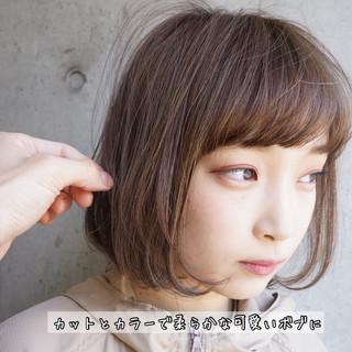 切りっぱなしボブ 縮毛矯正 ショートボブ ナチュラル ヘアスタイルや髪型の写真・画像