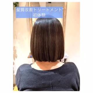 ツヤ髪 ボブ 切りっぱなしボブ ミニボブ ヘアスタイルや髪型の写真・画像