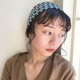 オン眉 ナチュラル 簡単ヘアアレンジ ミディアム ヘアスタイルや髪型の写真・画像