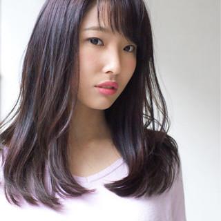 ラベンダーピンク ワンカール 前髪あり ストレート ヘアスタイルや髪型の写真・画像