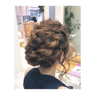 くるりんぱ セミロング ヘアアレンジ 二次会 ヘアスタイルや髪型の写真・画像 ヘアスタイルや髪型の写真・画像