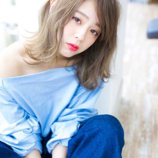外国人風カラー ブリーチ ミディアム ブリーチカラー ヘアスタイルや髪型の写真・画像